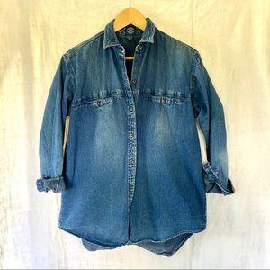 GAP Faded Heavy Denim Button Up Long Sleeve Shirt